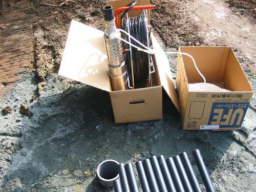 井戸削井、水中ポンプ設置