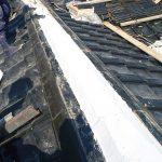 日本家屋の屋根、棟瓦のたたみ替え